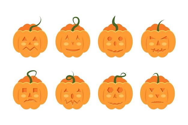 Insieme spaventoso e inquietante delle zucche sorridenti per l'illustrazione isolata festa di halloween