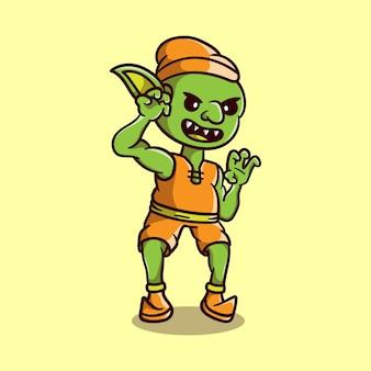 Spaventosa creatura goblin di halloween carino
