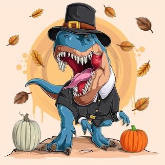 Dinosauro spaventoso trex con costume da pellegrino che ruggisce per il ringraziamento e il giorno della zucca nazionale