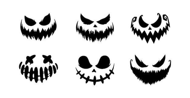 Facce spaventose della zucca o del fantasma di halloween. sorriso tratto pennello. accumulazione di vettore.