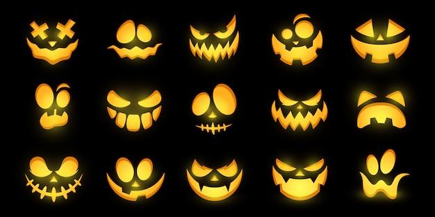 Volti luminosi spaventosi e divertenti di zucca o fantasma di halloween. collezione.