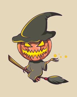 Halloween giallo incandescente spaventoso che vola su una scopa