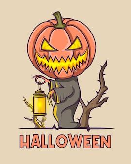 Halloween giallo incandescente spaventoso che tiene una lanterna