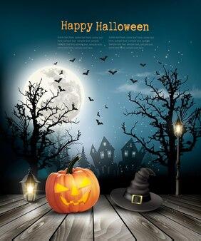 Priorità bassa spaventosa di halloween con una vecchia carta. vettore.