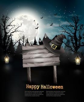 Sfondo spaventoso di halloween con un cartello in legno. vettore.