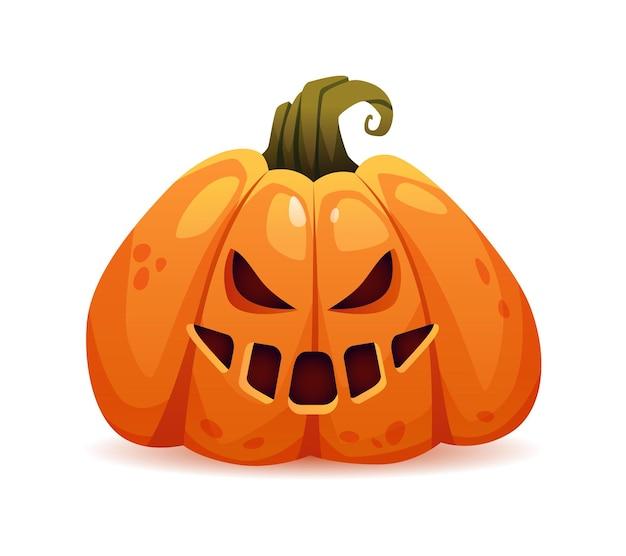 Zucca spaventosa di halloween con un'espressione facciale malvagia e cattive emozioni che sorridono e ridono faccia