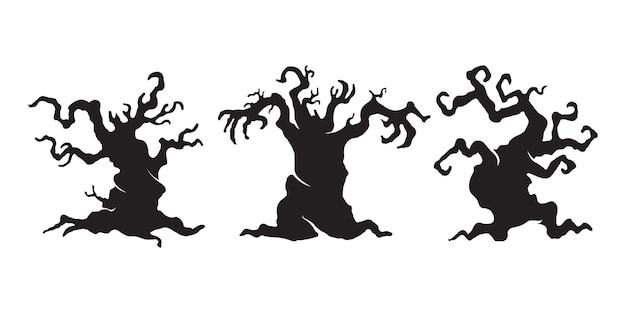 Albero infestato spaventoso. vettore della siluetta dell'albero del fantasma di halloween.