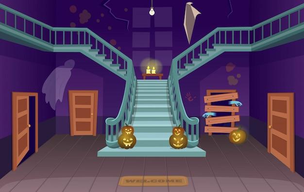 Casa spaventosa con scale, fantasmi, porte, zucche. illustrazione di vettore del fumetto di halloween.