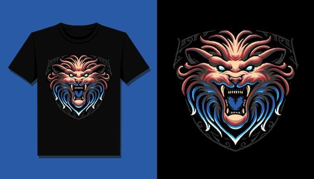 Testa di leone spaventoso per il design della maglietta