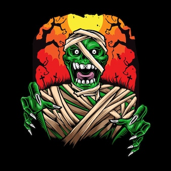 Illustrazione di carattere mummia spaventosa