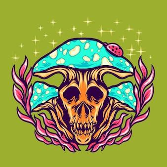 Illustrazione di funghi spaventosi