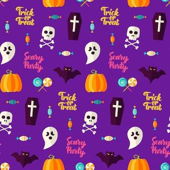 Fondo senza cuciture di halloween del partito spaventoso. illustrazione di vettore. dolcetto o scherzetto.