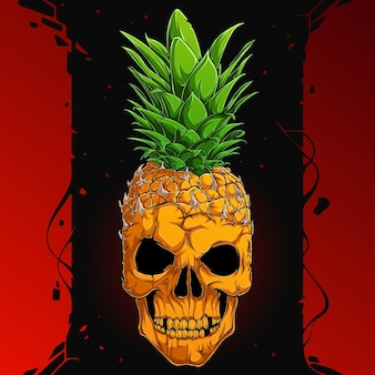 Teschio di ananas spaventoso, metà faccia di teschio umano metà ananas, faccia seria di scheletro di ananas