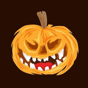 Illustrazione vettoriale piatta testa di zucca spaventosa