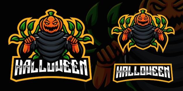 Modello di logo della mascotte di gioco della zucca spaventosa per lo streamer di esports facebook youtube