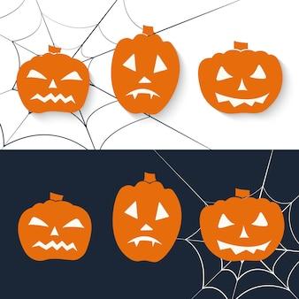Insieme dell'icona di zucca spaventosa. saluto di halloween. illustrazione vettoriale.