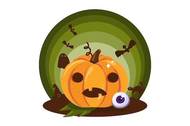 Zucca spaventosa con faccia buffa tradizionale vacanza di halloween