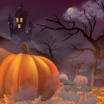 Modello di poster di halloween con zucche spaventose