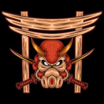 Il concetto spaventoso della maschera del guerriero del samurai nello stile dell'annata ha isolato l'illustrazione di vettore