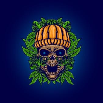 Teschio spaventoso con illustrazione di foglie di cannabis