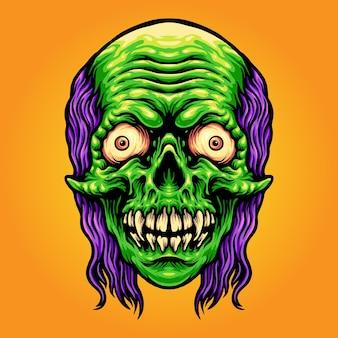 Scary skull zombie mascot illustrazioni vettoriali per il tuo lavoro logo, t-shirt di merce mascotte, adesivi e disegni di etichette, poster, biglietti di auguri pubblicitari società o marchi.