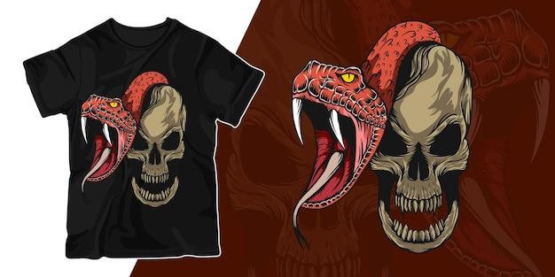 Disegno della maglietta dell'illustrazione dell'illustrazione del cranio e del serpente spaventoso