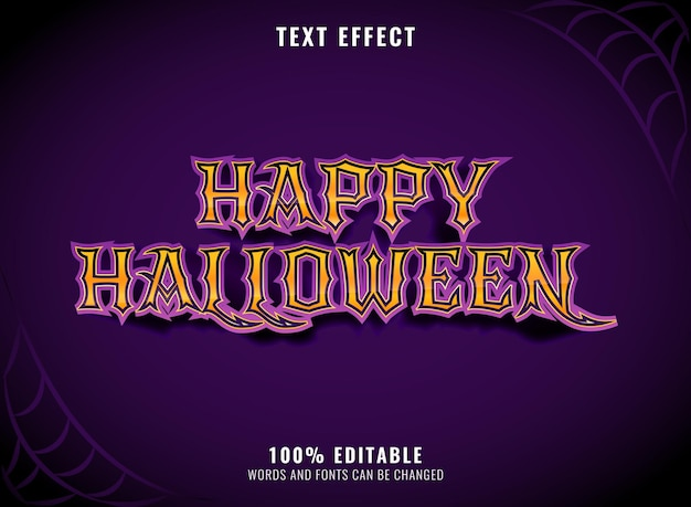 Effetto di testo modificabile di halloween felice viola spaventoso