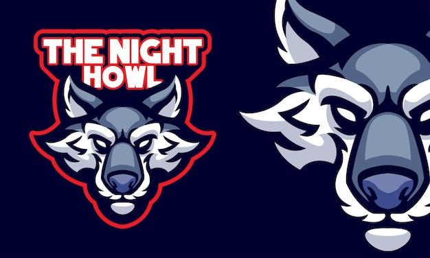 Illustrazione della mascotte del logo di sport della testa di lupo spaventoso
