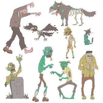 Adesivi delineati di zombie spaventosi