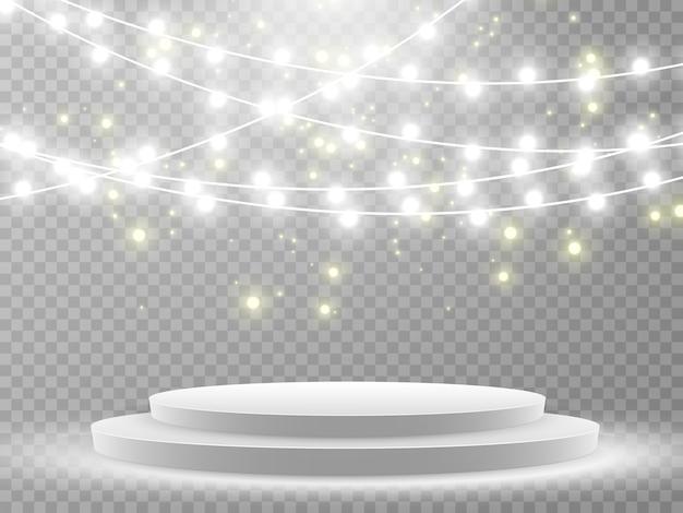 Scena per la cerimonia di premiazione. piedistallo. proiettore. podio alla luce delle stelle.