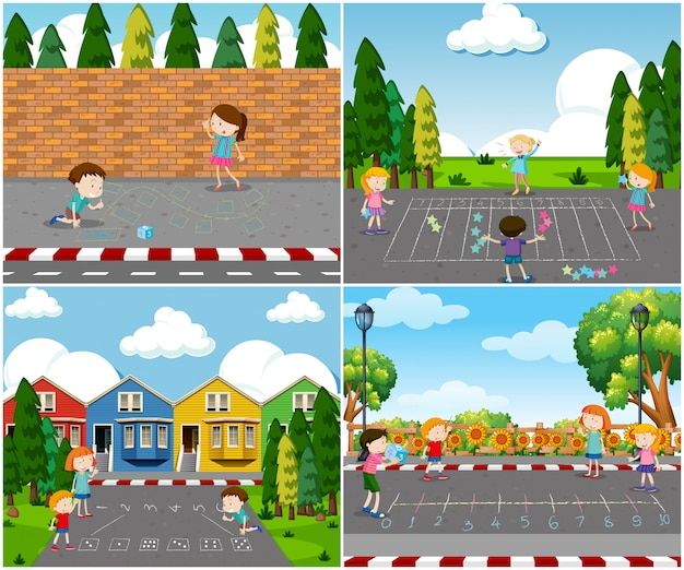 Scena di bambini che giocano all'aperto