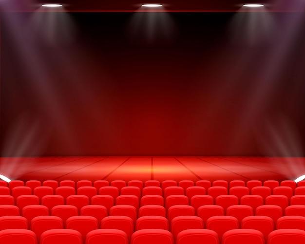 Scene cinematografiche di sfondo, performance sul palco. illustrazione vettoriale