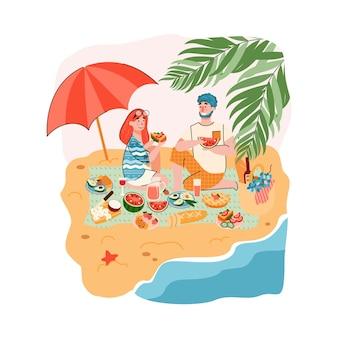 Scena di picnic di coppia o di amici in riva al mare con personaggi di uomo e donna