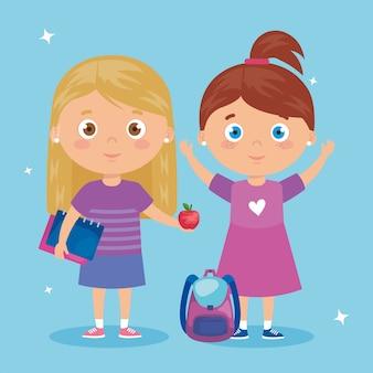 Scena delle ragazze che stanno sull'illustrazione blu