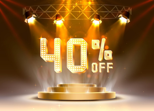 Scena golden 40 vendita off banner di testo. segno di notte. illustrazione vettoriale