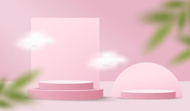 Scena su sfondo pastello con podio a cilindro e foglie. vetrina del mockup del palco per il prodotto. illustrazione 3d.