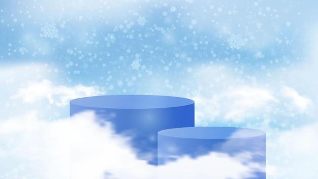 Scena per la presentazione degli sconti di capodanno. vettore cilindrico del fondo del cielo di inverno del podio
