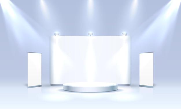 Scena spettacolo podio per presentazioni su sfondo blu. illustrazione vettoriale