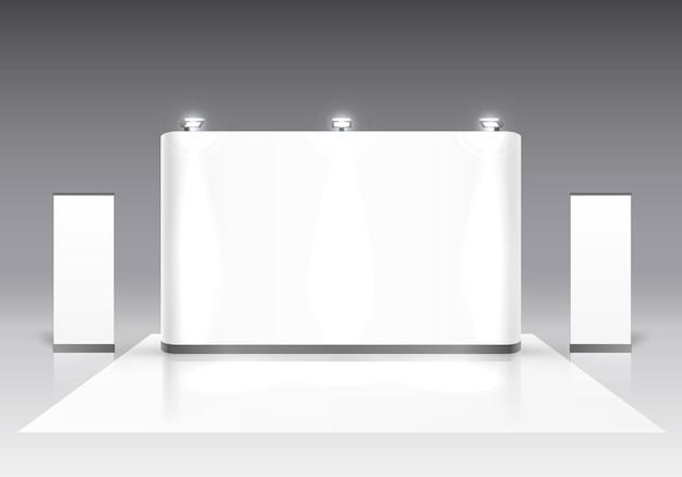 Scena spettacolo podio per presentazioni su sfondo grigio. illustrazione vettoriale