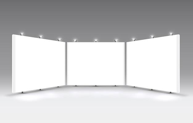 Scena spettacolo podio per presentazioni su sfondo grigio