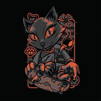 Illustrazione di razze di gatti stile scena
