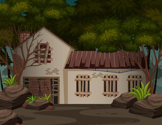 Scena con casa abbandonata nella foresta oscura