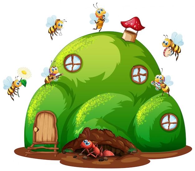 Scena con formiche e api sulla casa in collina