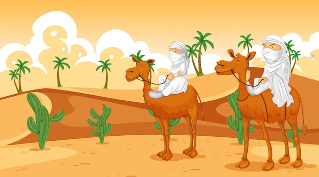 Scena con arabi a cavallo sui cammelli