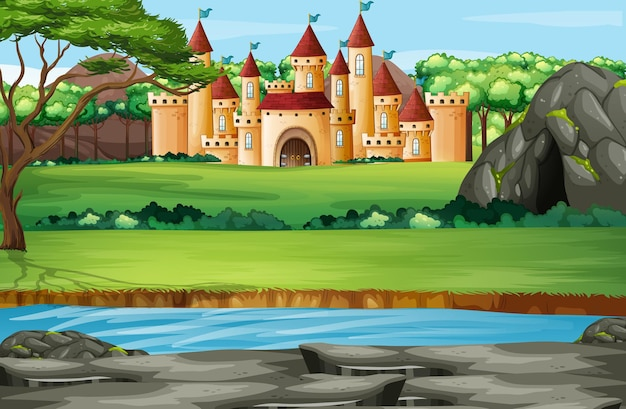 Scena con torri del castello nel parco