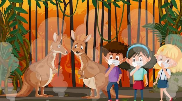 Scena con bambini e animali nel grande incendio