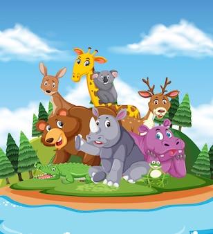 Scena con simpatici animali in riva al fiume