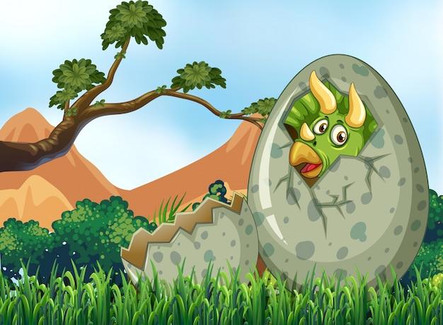 Scena con uovo da cova di dinosauro