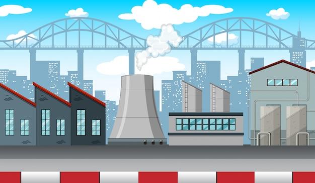 Scena con fabbriche e edifici lungo la strada
