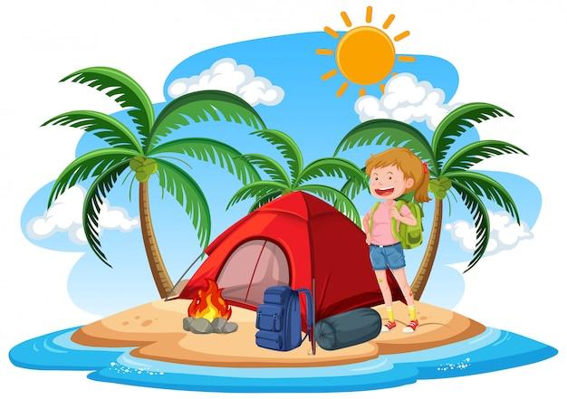 Scena con la ragazza che si accampa sull'isola durante il giorno